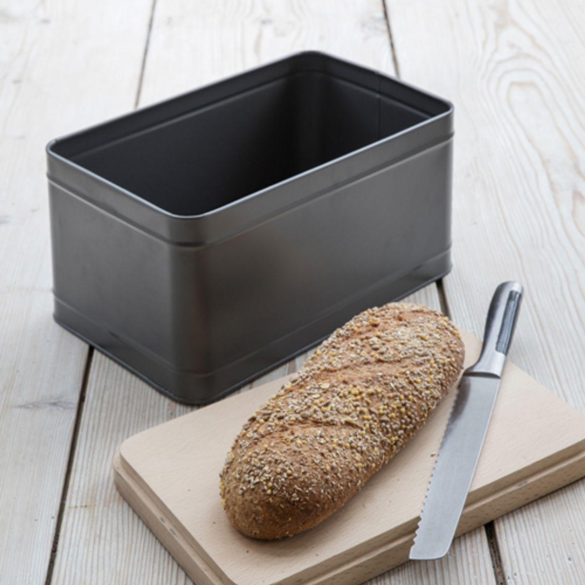 Garden Trading Boîte à pain en acier epoxy anthracite avec couvercle en hêtre