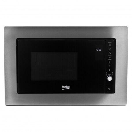 Beko Micro-ondes encastrable 20L avec Cadre d'encastrement, 8 programmes + écran LCD + minuterie 95mn, Acier inoxydable (MOB20231BG)