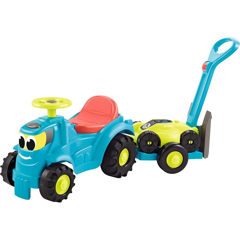 Ecoiffier Tracteur Ecoffier 2 en 1 Superpack avec remorque et tondeuse à gazon