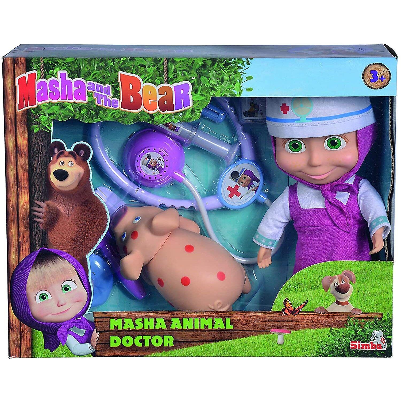 Simba Ensemble de poupée vétérinaire Simba Masha et Bear