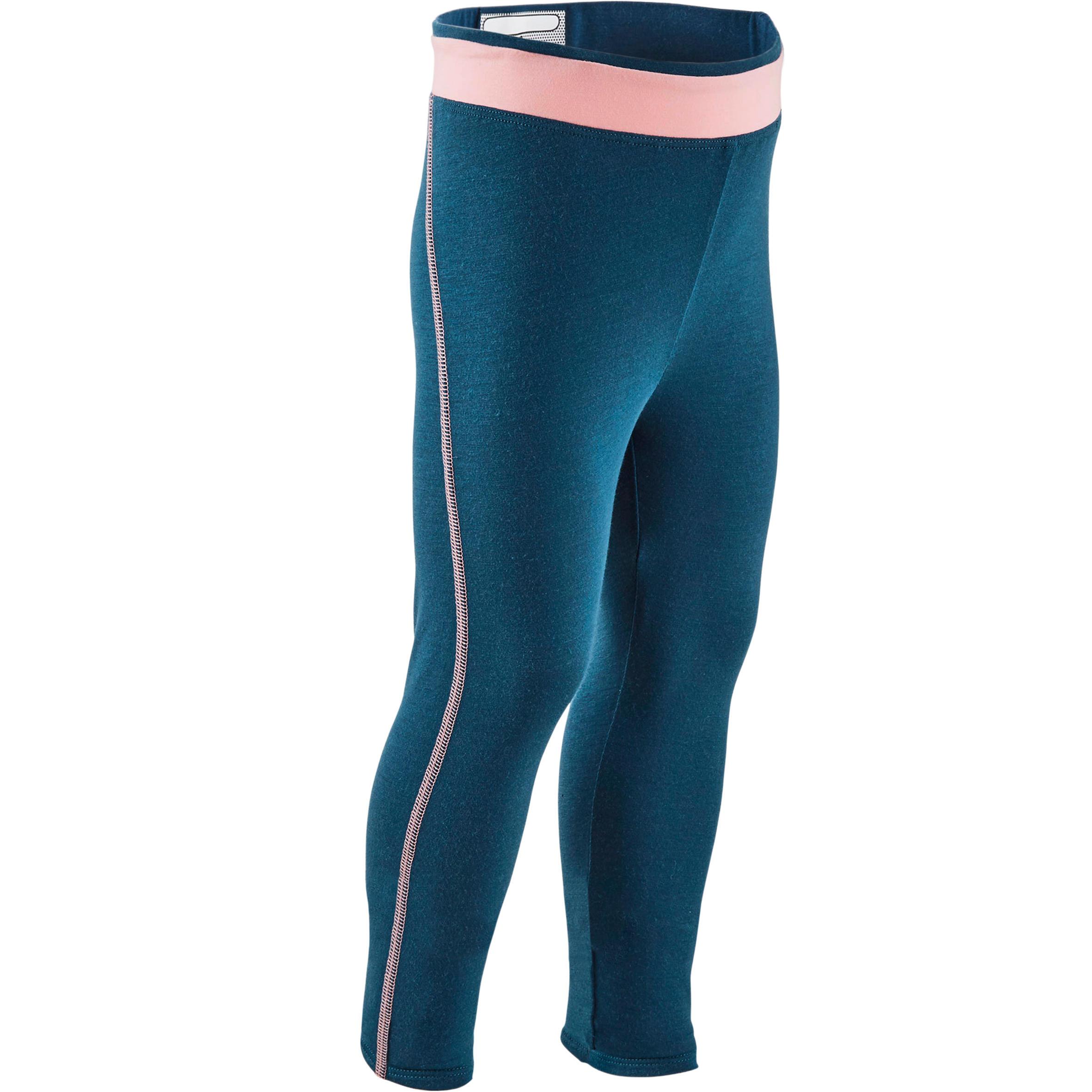 Domyos Legging 500 Baby Gym Fille Bleu petrol/Rose - Domyos