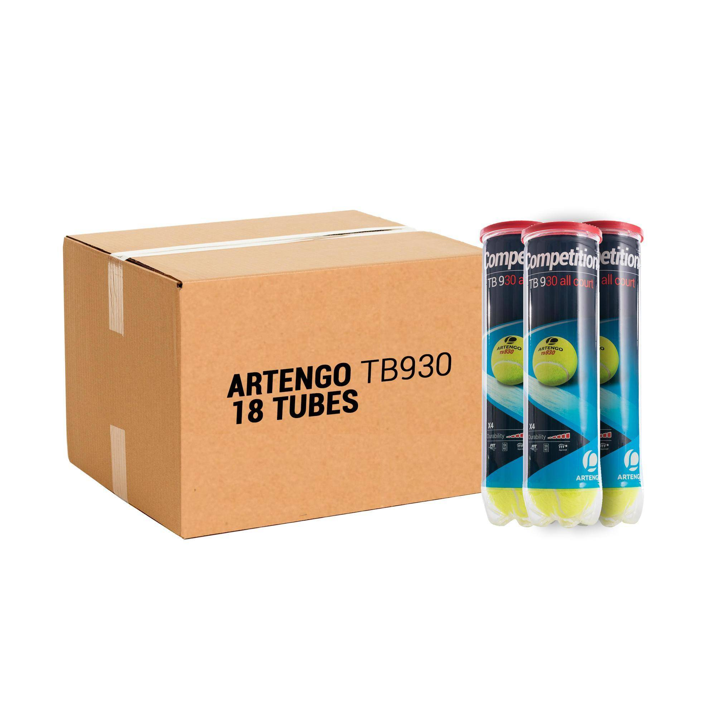ARTENGO BALLE DE TENNIS TB930 *4 PACK *18 JAUNE - ARTENGO - Taille unique