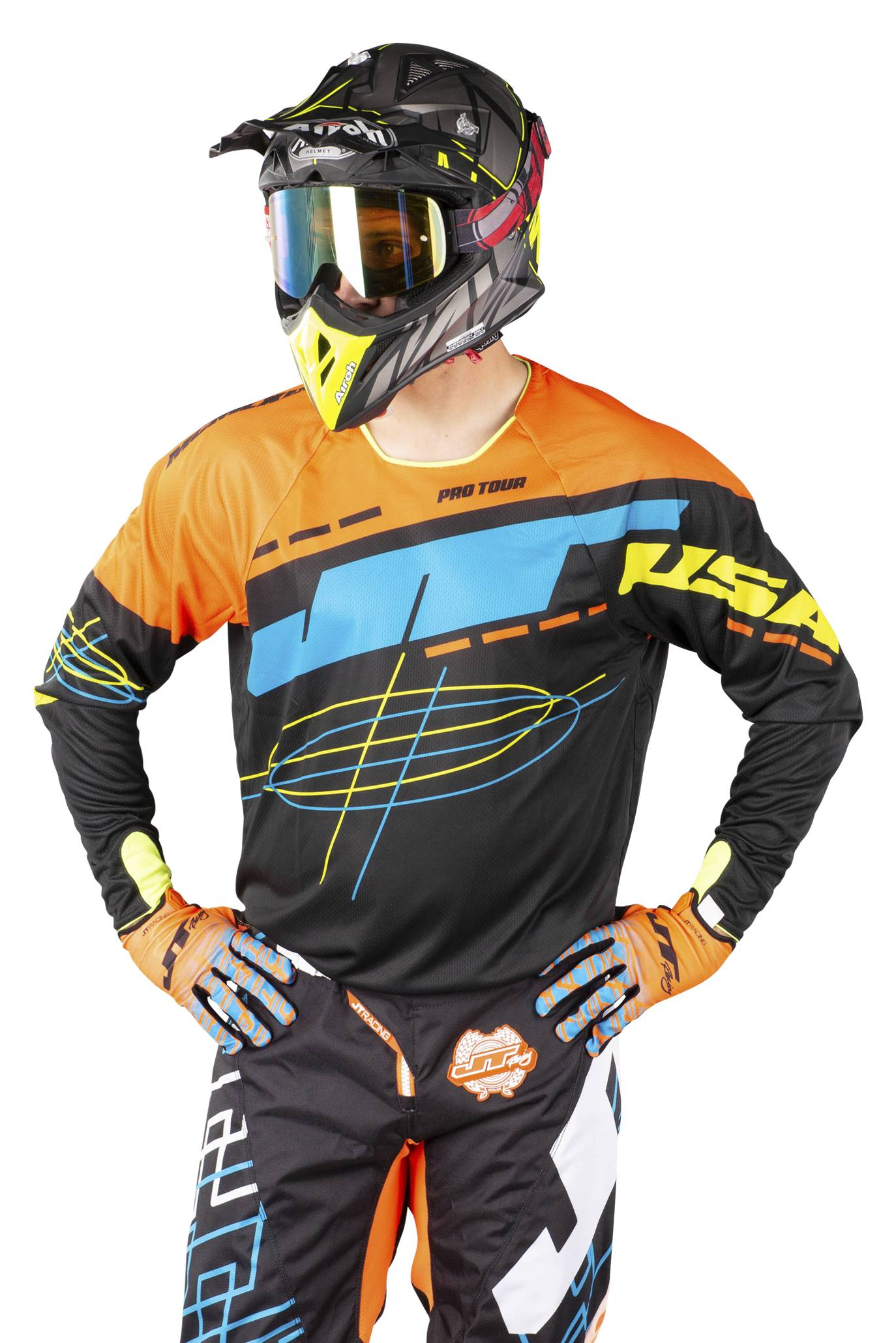 JT Racing Maillot Cross JT Racing Hyperlite Blueprint Orange-Noir-Jaune Fluo