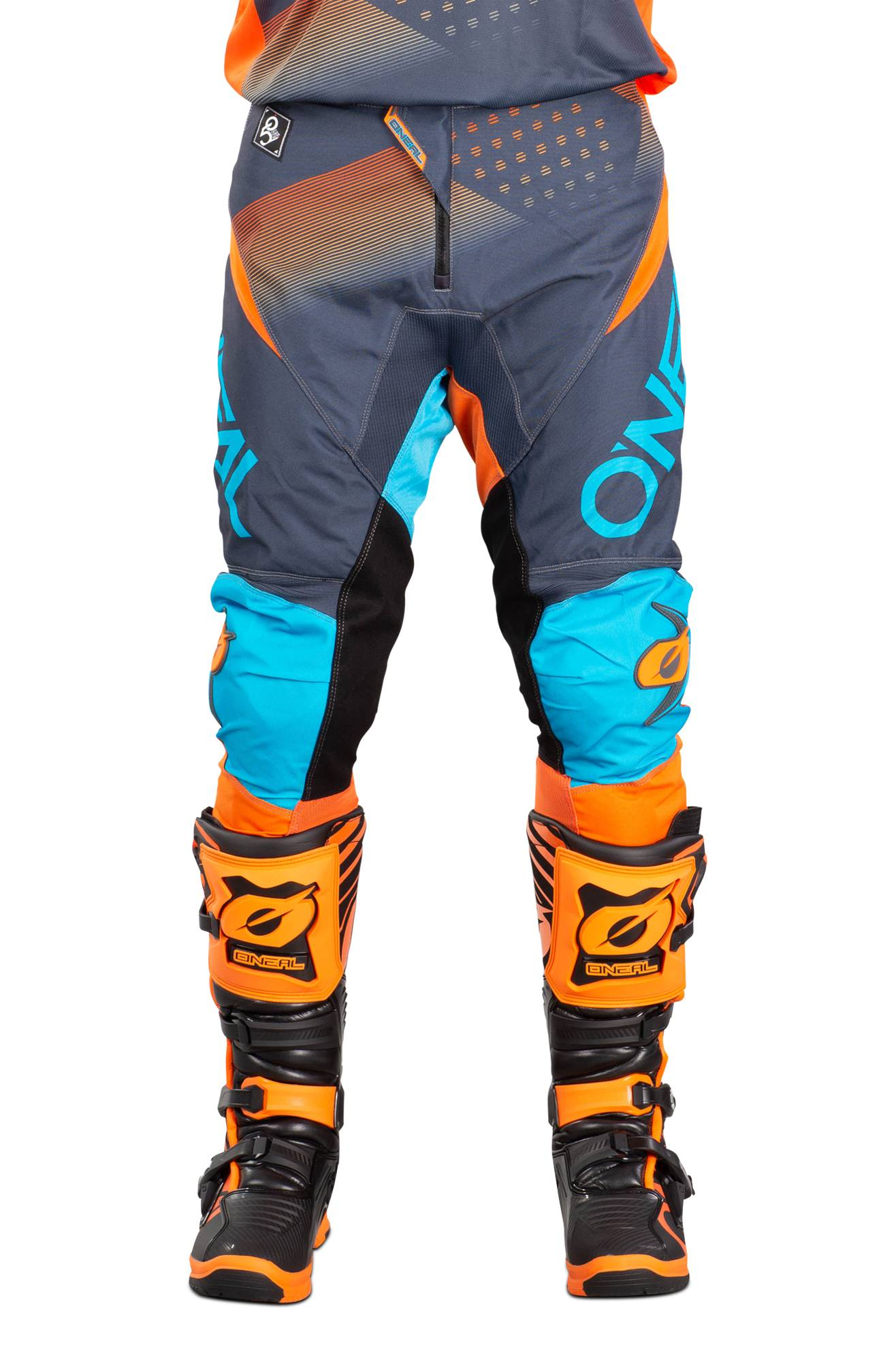 O'Neal Pantalon Cross O'Neal Element Factor Gris-Orange-Bleu