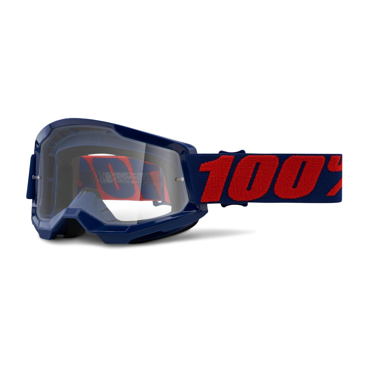 100% Masque Cross 100% Strata 2 Masego Bleu Foncé-Rouge