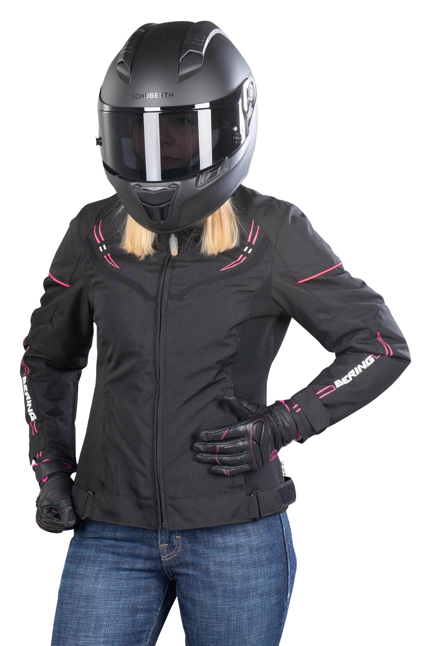 Bering Blouson Moto Femme Bering Lady Paradise Noir-Fuchsia 36 (XS)