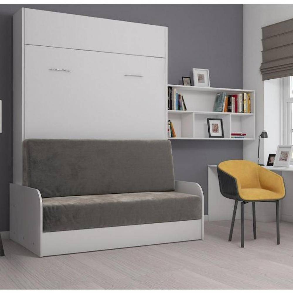 Inside75 Armoire lit escamotable STUDIO SOFA canapé accoudoirs blanc mat et microfibre gris couchage 140*200 cm