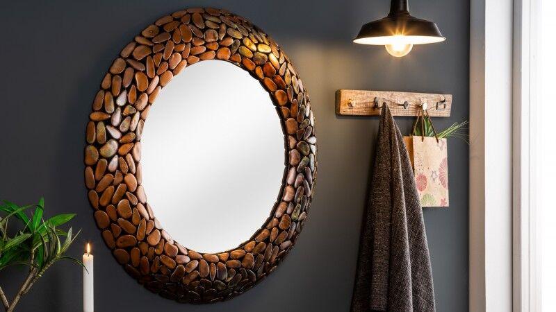 gdegdesign Miroir design rond cadre mosaïque cuivre - Braga