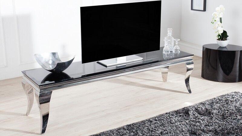 gdegdesign Meuble TV baroque chromé plateau verre noir - Zita