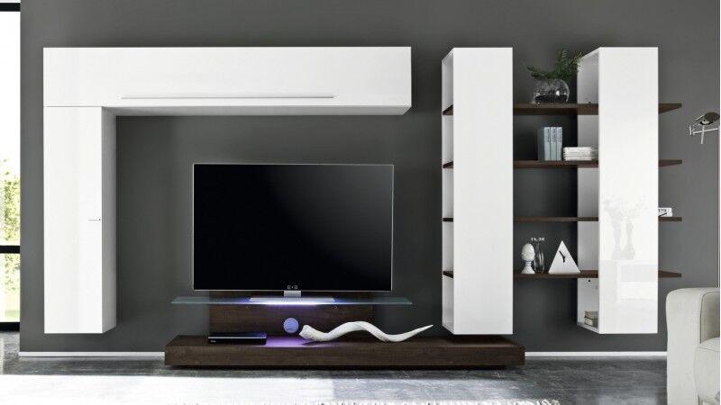 gdegdesign Ensemble meuble TV mural lumineux wengé avec rangements - Farrell