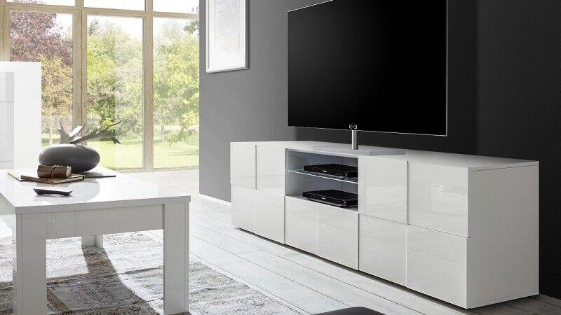 gdegdesign Meuble TV blanc laqué brillant 2 portes + 1 tiroir avec LED - Faust