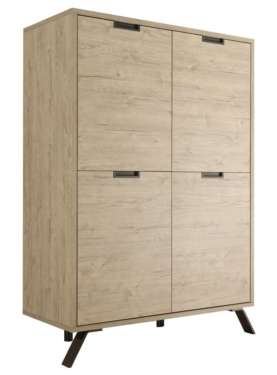gdegdesign Buffet haut meuble de rangement couleur bois clair 4 portes - Vram