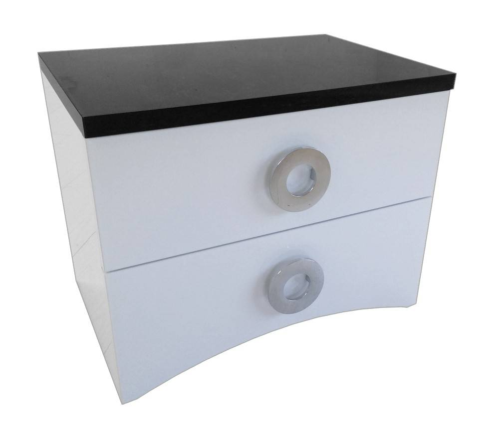 gdegdesign Chevet design noir et blanc 2 tiroirs - Ros
