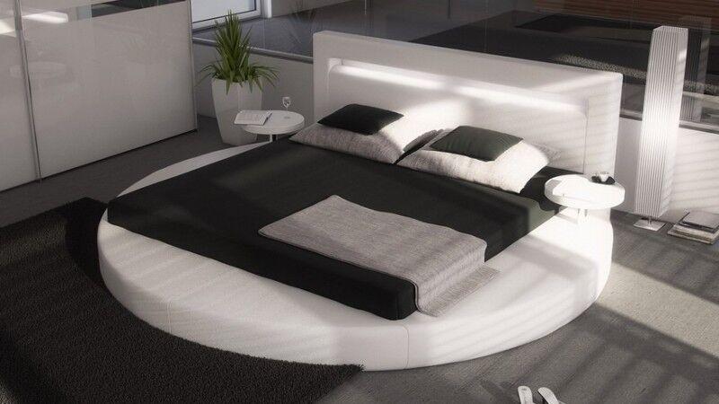 gdegdesign Lit rond design blanc 180x200 cm simili cuir - Uster