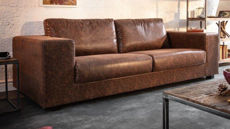 gdegdesign Canapé 3 places industriel simili cuir marron aspect cuir vieilli - Harper