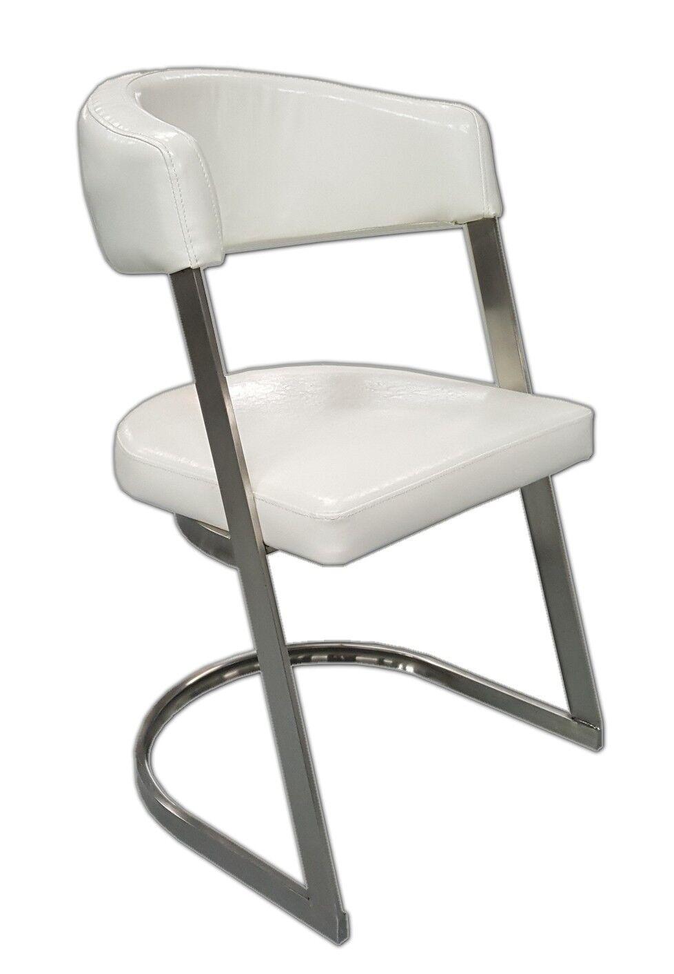 gdegdesign Chaise blanche simili cuir - Aron