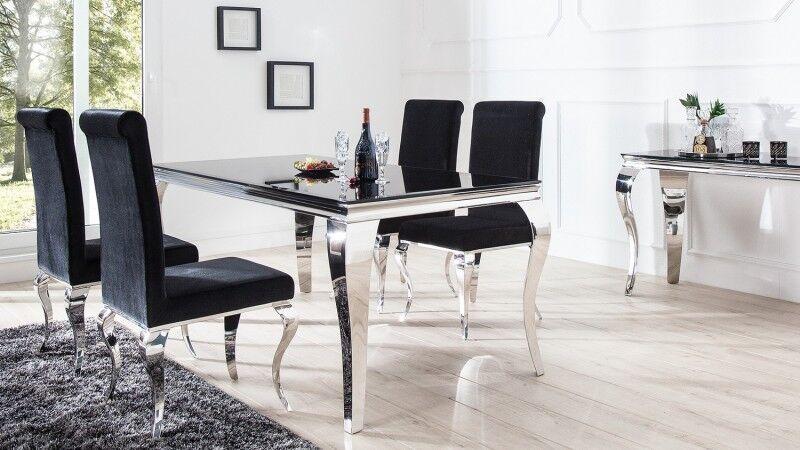 gdegdesign Salle à manger complète baroque chromée et verre noir - Zita