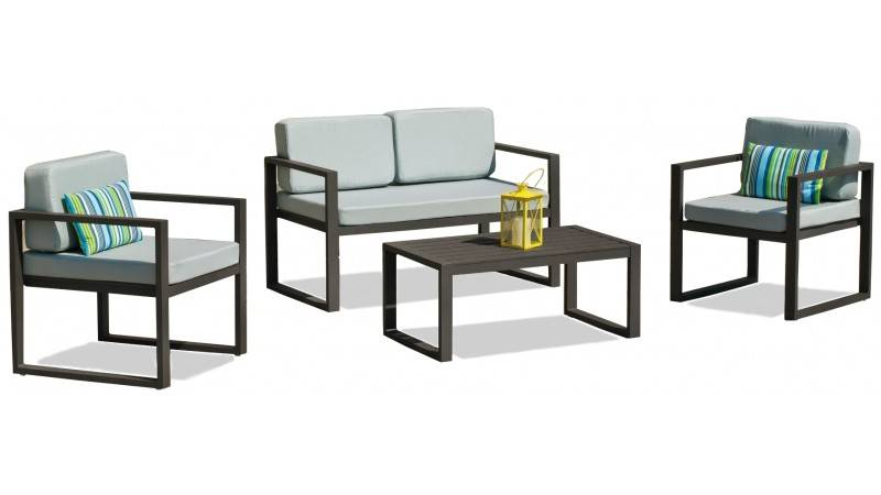 gdegdesign Salon de jardin 3+1+1 gris anthracite et gris clair avec table basse - Pasadena