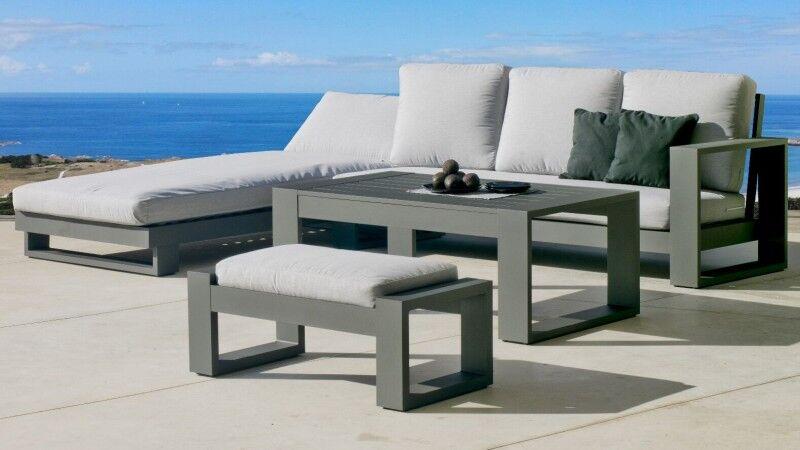 gdegdesign Canapé d'angle de jardin gris anthracite et gris clair avec table basse et pouf - California