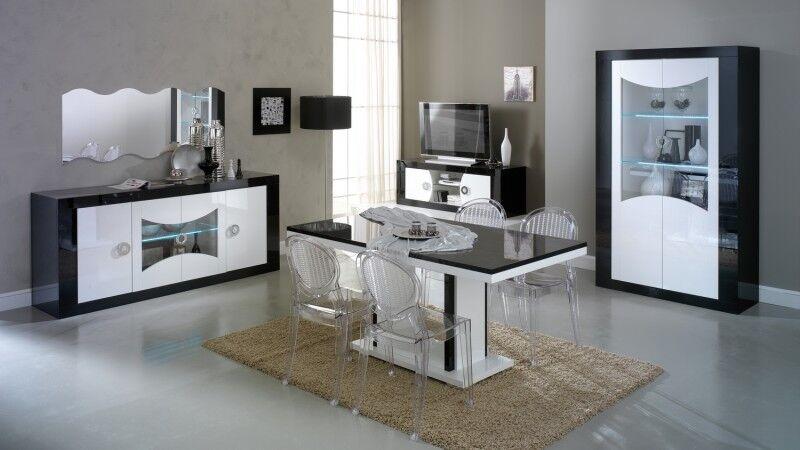 gdegdesign Salle à manger complète LED design noir et blanc - Nevis