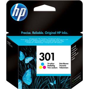 HP Cartouche jet d'encre HP 3 couleurs N°301. 165 pages. 3ml. Pour DeskJet 1050, 2050, 2050s, 2510, 3000 pour imprimante HP ENVY 4500 - CH562EE