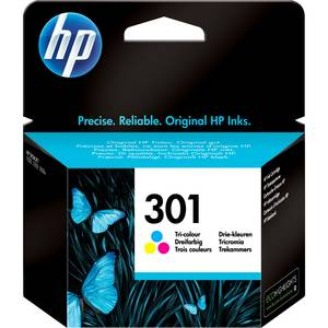 HP Cartouche jet d'encre HP 3 couleurs N°301. 165 pages. 3ml. Pour DeskJet 1050, 2050, 2050s, 2510, 3000 pour imprimante HP DESKJET DJ 1050A - CH562EE