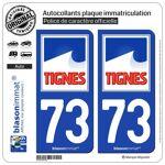 Blasonimmat 2 Autocollants Plaque immatriculation Auto 73 Tignes Commune... par LeGuide.com Publicité