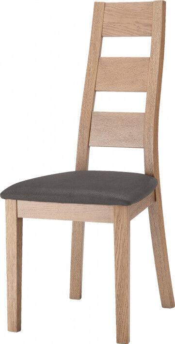 Chaise moderne chêne blanchi assise garni gris foncé pieds cintrés - LYSEA