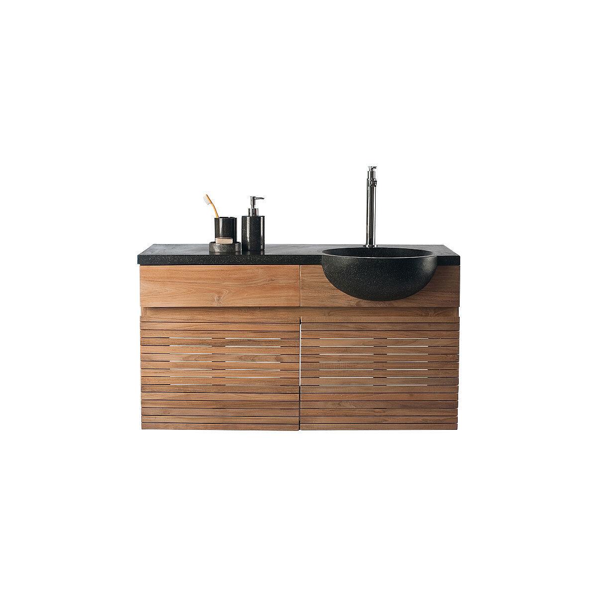 Miliboo Meuble de salle de bain : meuble sous vasque teck et vasque terazzo ISAK BIG