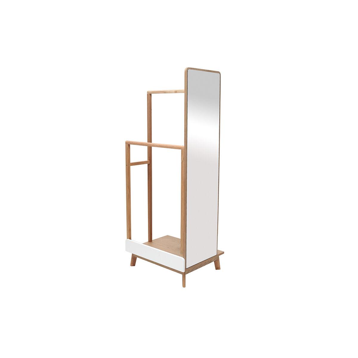 Miliboo Portant à vêtements avec miroir bois clair et blanc TAYA