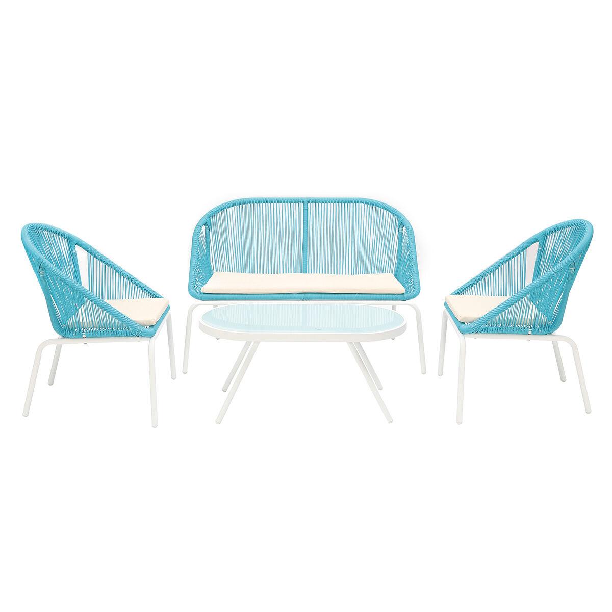 Miliboo Salon de jardin design en résine bleue SUNNY