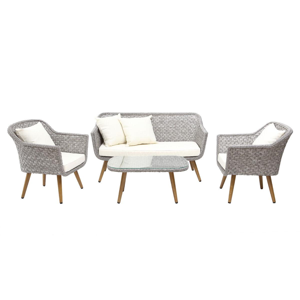 Miliboo Salon de jardin en résine tressée avec table basse gris et bois AJACCIO