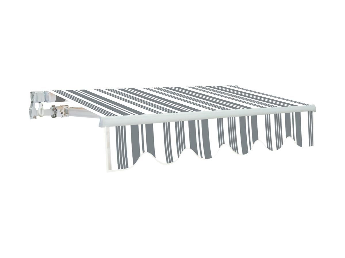 Vente-unique Store rétractable manuel PALEAS 3,95 x 2,5m - gris et blanc