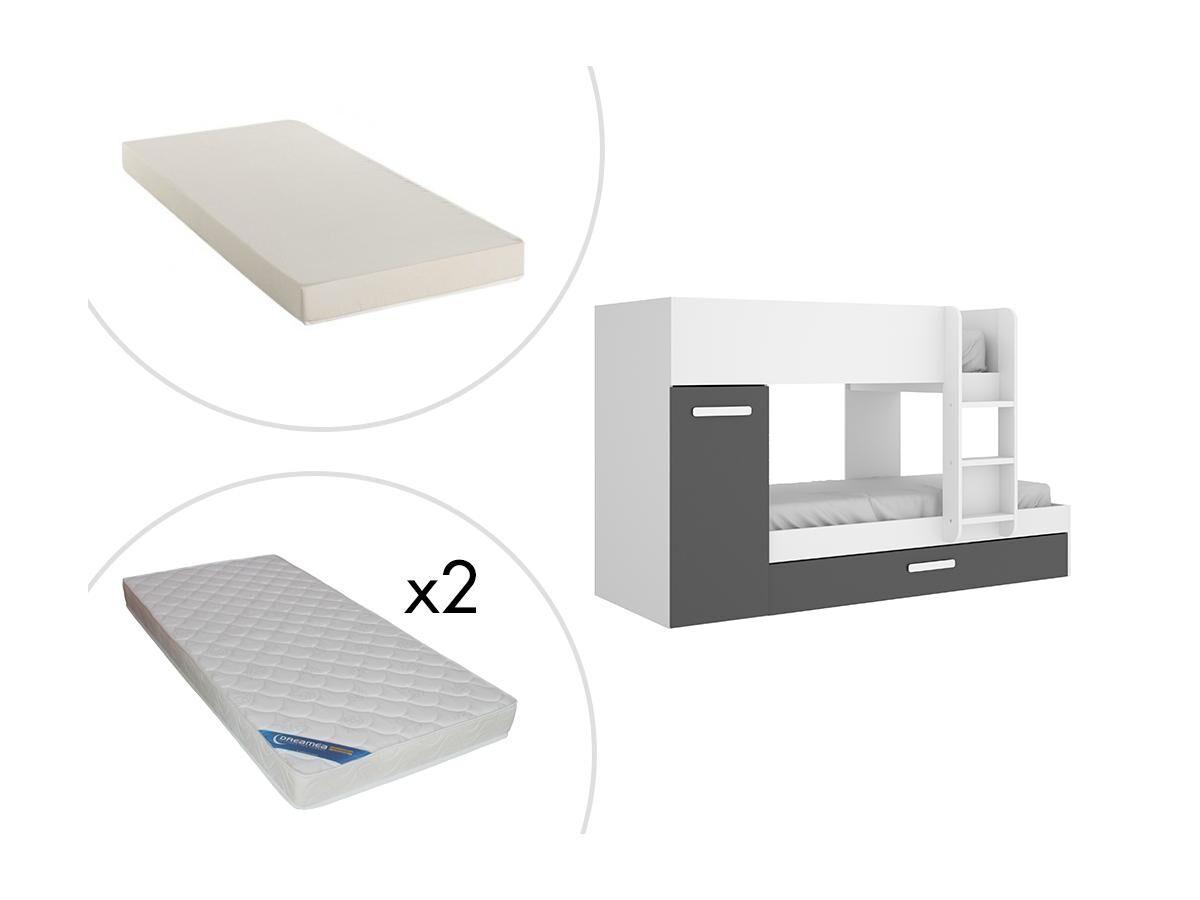 Vente-unique Lits Superposés ANTHONY avec rangements 3 x 90 x 190 cm - Anthracite et Blanc + matelas
