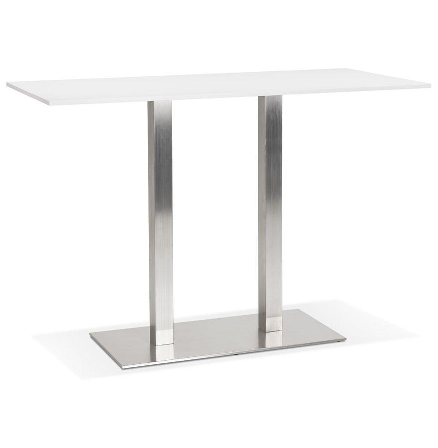 Mange-debout design 'DENVER BAR' blanc avec pied en métal brossé - 160x80 cm
