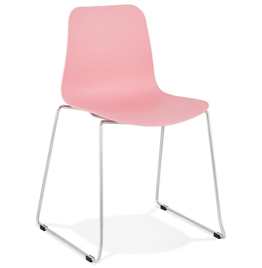 Chaise moderne 'EXPO' rose avec pieds en métal chromé