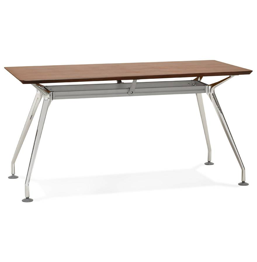 Bureau droit design 'STATION' avec plateau en bois finition Noyer - 150x70 cm