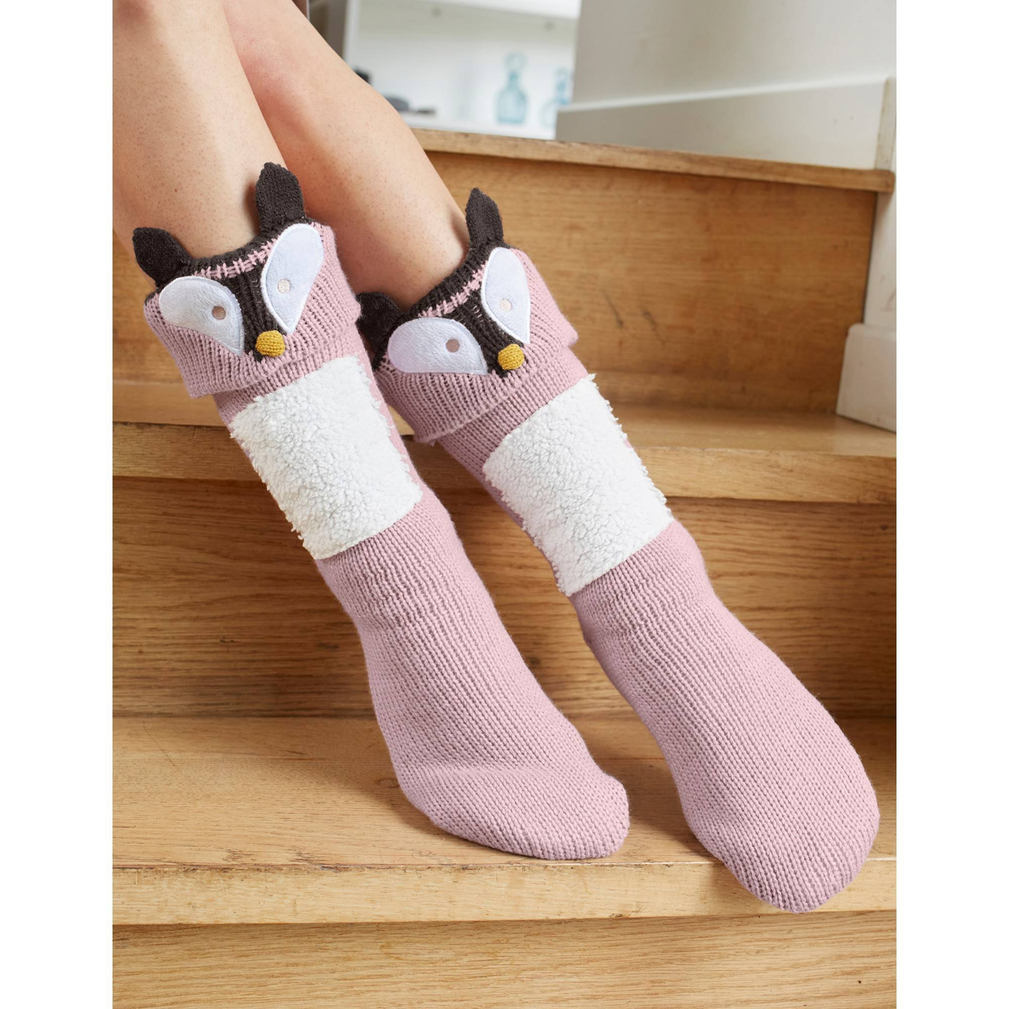 Chaussons-chaussettes cocooning - renard - taupe - Taille : 40,41 - Blancheporte