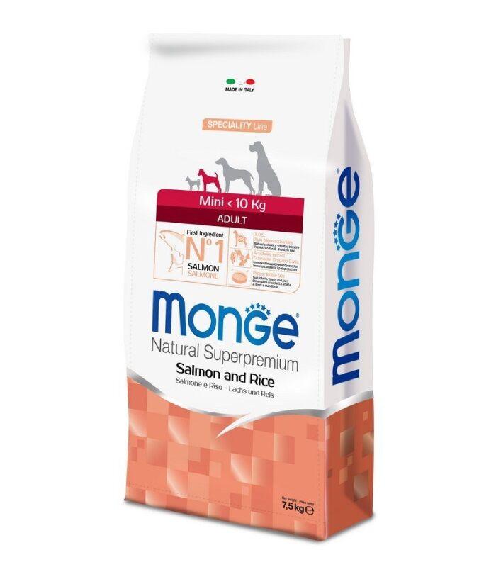 Monge Superpremium Crocchette Per Cani Adulti Taglia Mini 7,5kg - Salmone & Riso
