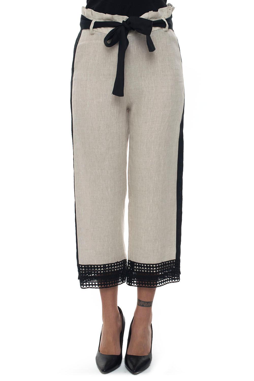 mariella rosati pantalone vita alta beige/nero lino donna
