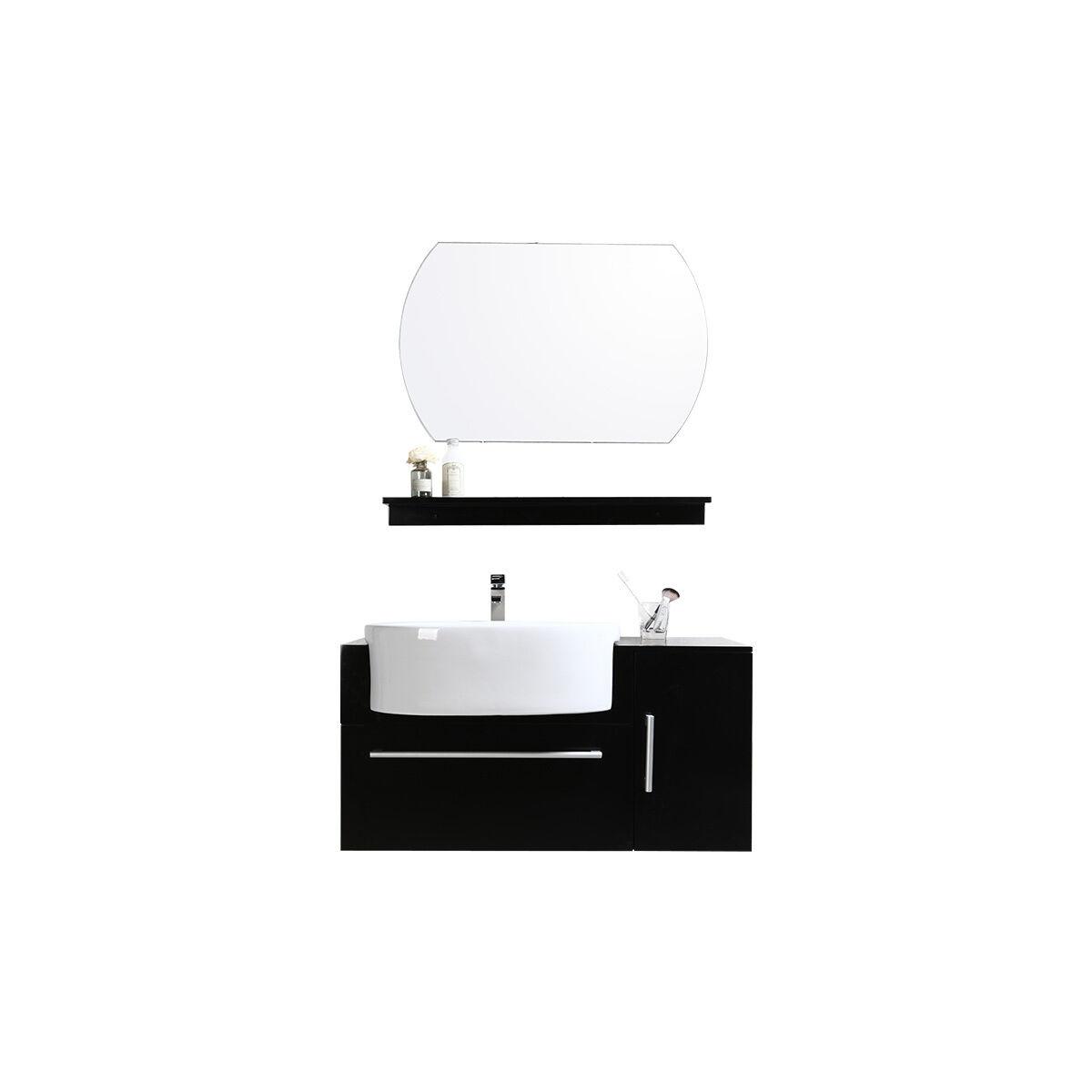 Miliboo Mobile da bagno Sullivan nero : lavabo, mobile sottovasca, mensola e specchio.-