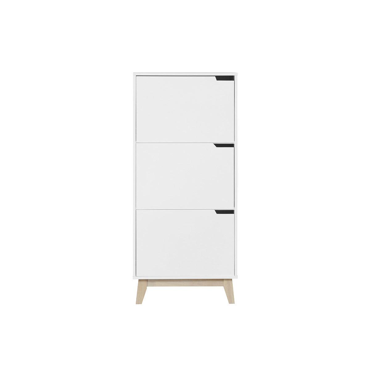 Miliboo Mobile per riporre i propri oggetti, di design, colore: Bianco, 3 ante, modello: LEENA-