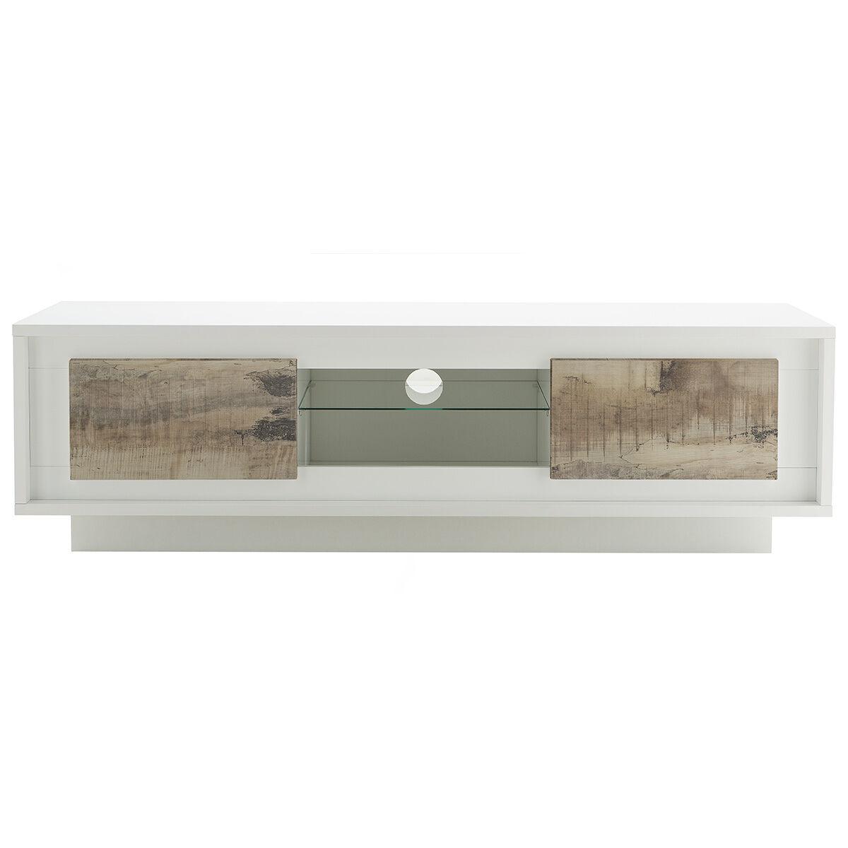 Miliboo Mobile TV, di design, colore: Bianco, con spazi per riporre i propri oggetti, stile: legno chiaro, modello: LAND-