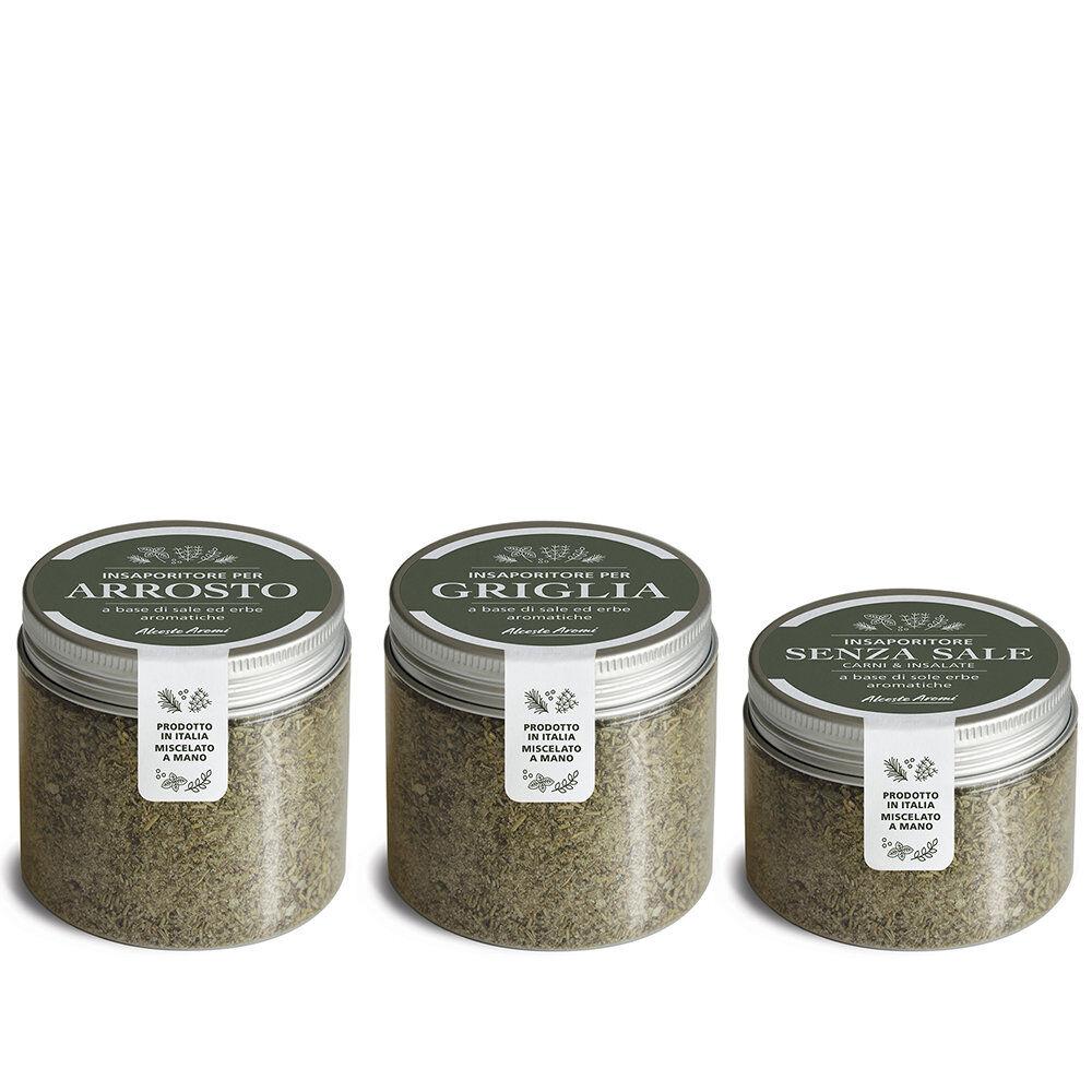 alceste aromi 3 vasetti misti: arrosto 100 gr - griglia 100 gr - senza sale 50 gr