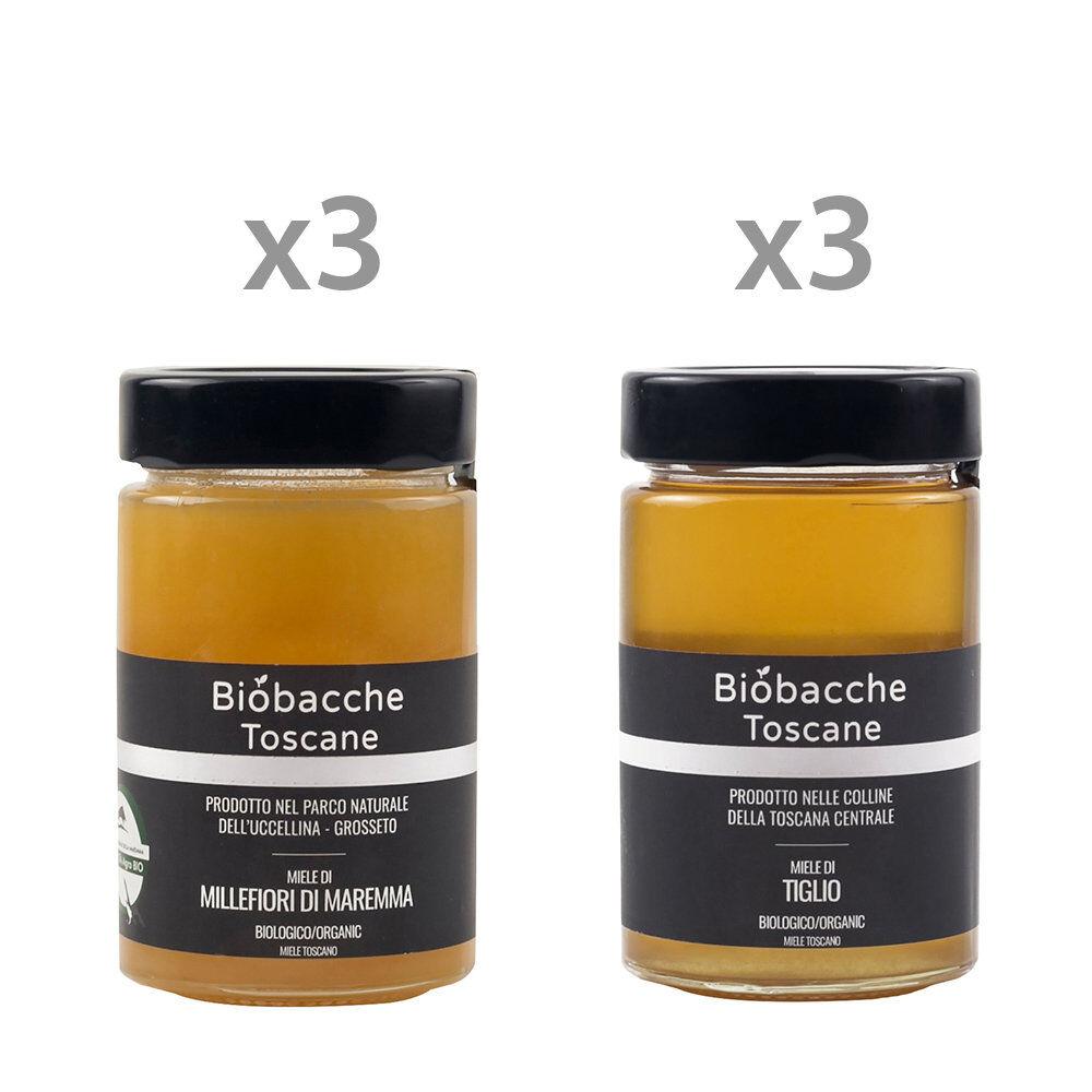 Miele 6 vasetti misti da 250 gr: 3 Millefiori di Maremma - 3 Miele di Tiglio