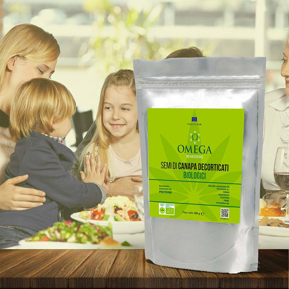 Omega 1 sacchetto - Semi di Canapa decoricati BIO 300 gr