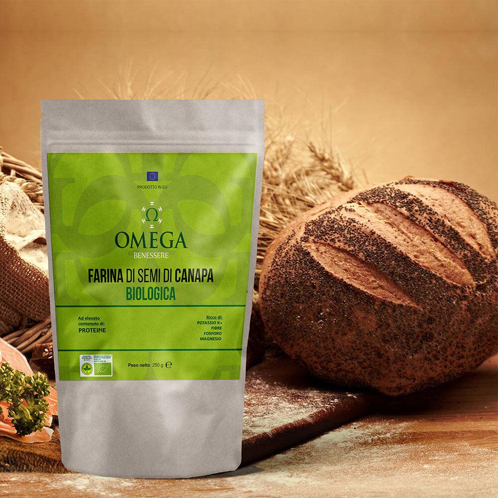 Omega 1 sacchetto - Farina di semi di Canapa BIO 300 gr