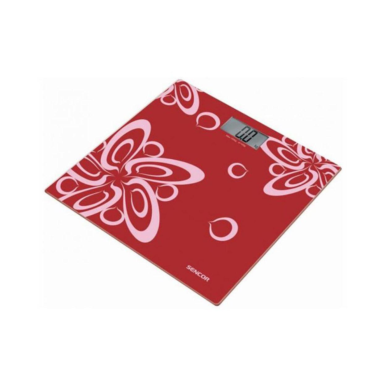 Sencor Bilancia pesapersonedigitale in vetro rosso decoro fiori
