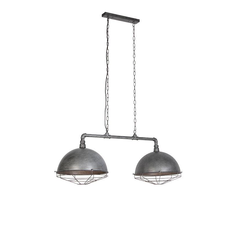 qazqa lampada a sospensione industriale argento antico 2 luci - corso