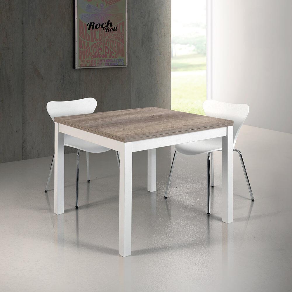 milani home bentley - tavolo da pranzo moderno allungabile a libro in metallo e legno 90 x 90/180